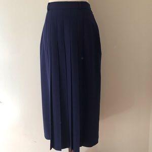Vintage Avoca Ireland Wool Pleated Blue MidiSkirt